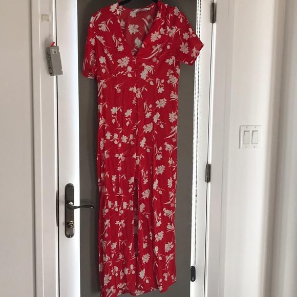 b2eb700b Zara Dresses | Red Flower Maxi Dress Xs | Poshmark